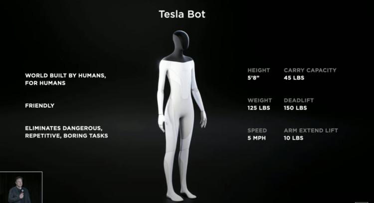 特斯拉正在开发 AI 驱动的人形机器人 Tesla Bot